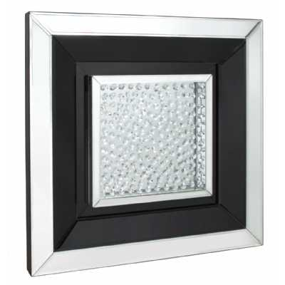 Glass Gems Black Small Square Mirror Wall Art