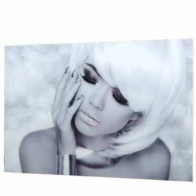 Black And White Posing Glamour Model Tempered Glass Wall Art
