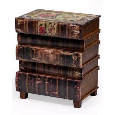 Set Of 3 Contemporary Style Antiqued Book Storage Boxes 36 x 28cm