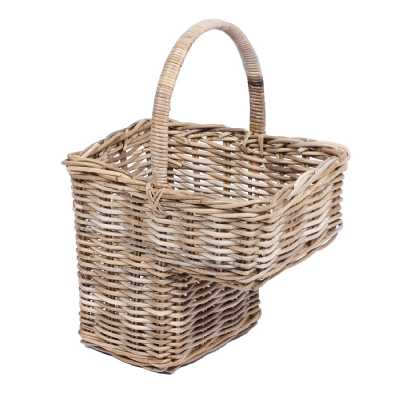 Step Basket With High Handle In Grey