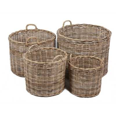 4 Round Baskets With Ear Handles In Grey