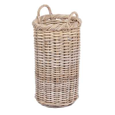 Round Tapered Basket With Ear Handles In Grey