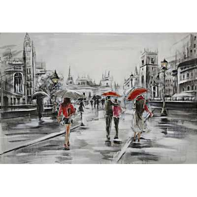 Paintings Tourists In The Rain Canvas