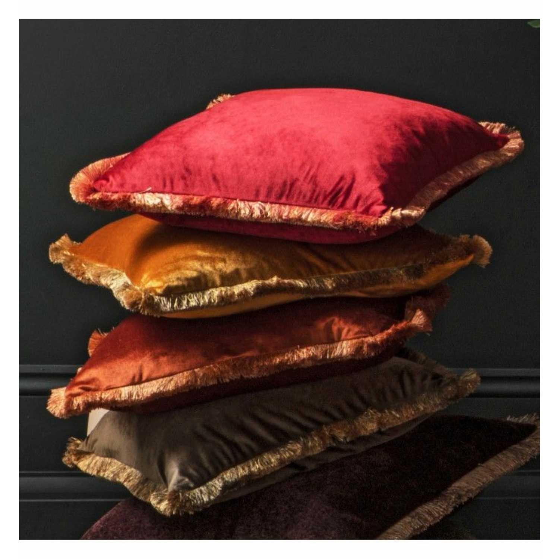 Velvet Cushion Burnt Orange