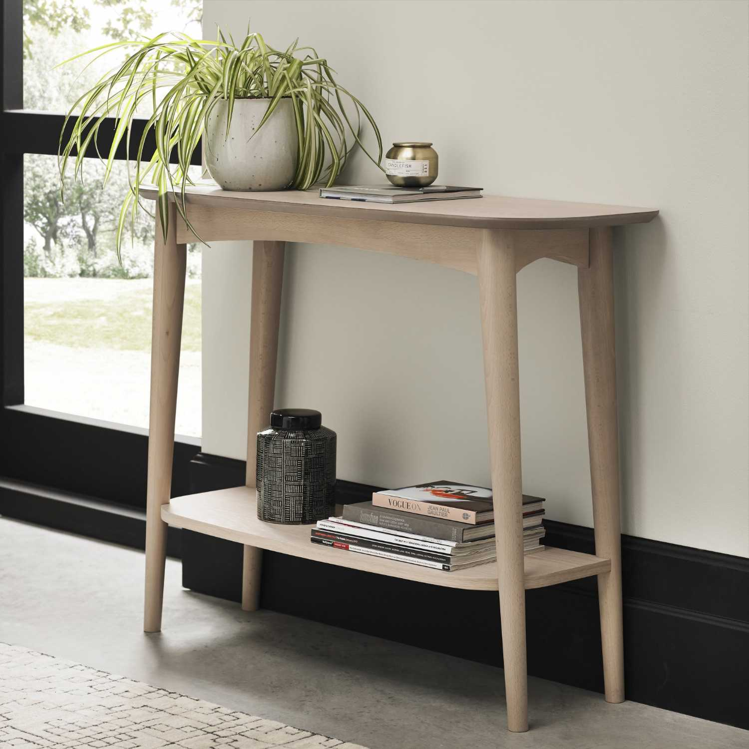 Dansk Scandi Style Oak Wood Console Hall Table With Wide ...